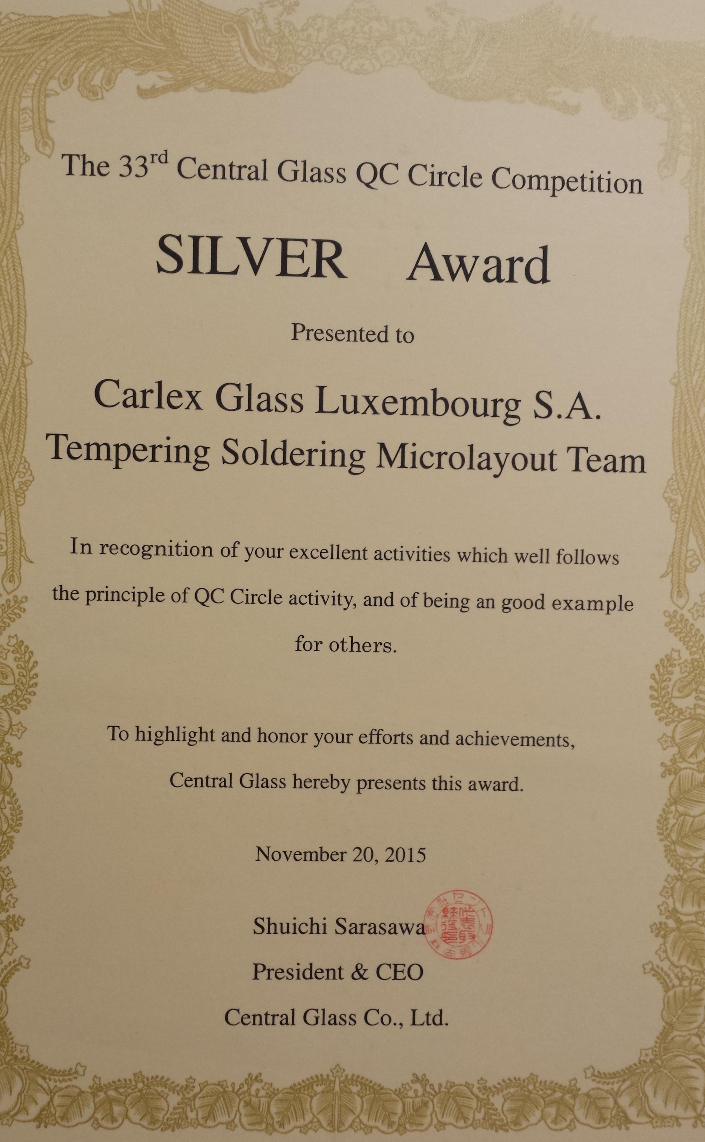 carlex silver award